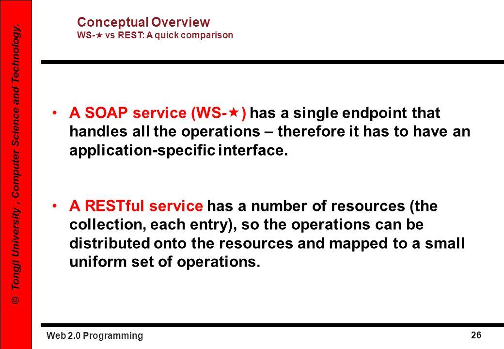Conceptual Overview WS- vs REST: A quick comparison