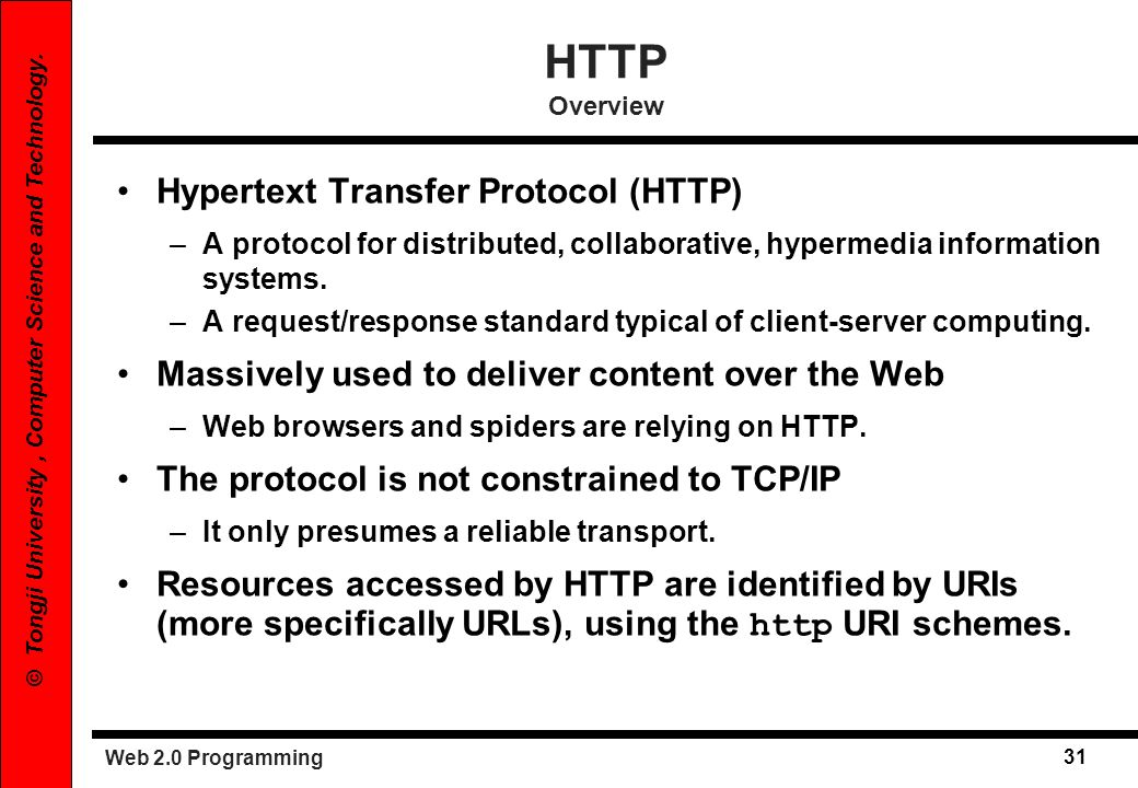 HTTP Overview Hypertext Transfer Protocol (HTTP)
