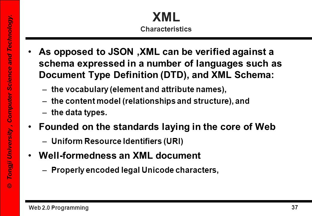 XML Characteristics