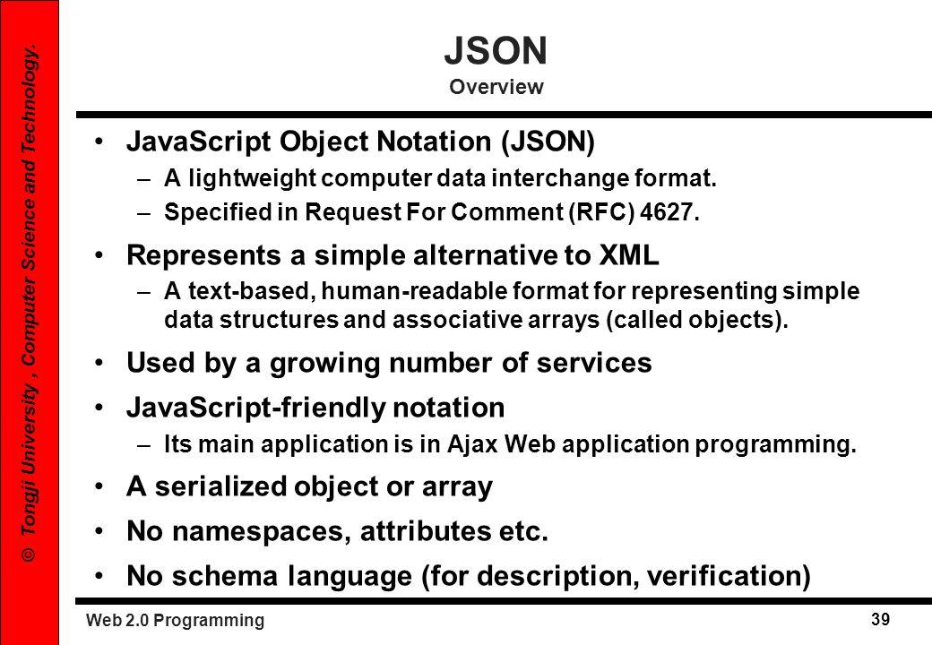 JSON Overview JavaScript Object Notation (JSON)
