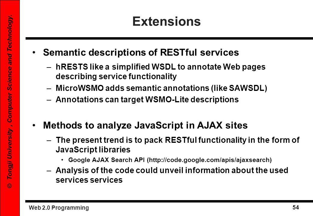 Extensions Semantic descriptions of RESTful services