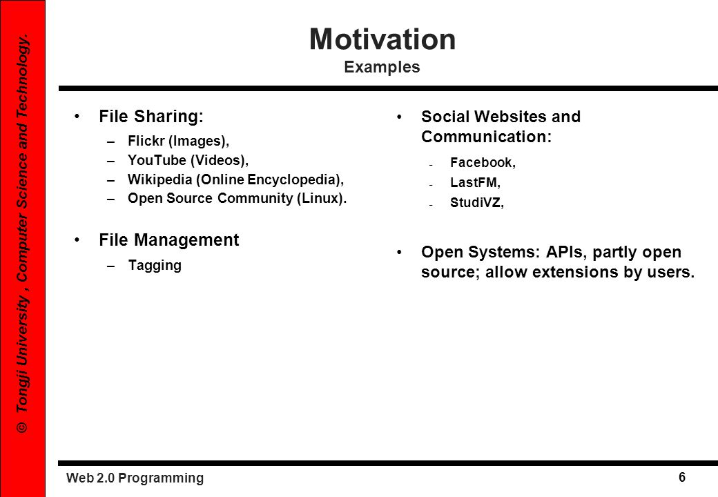 Motivation Examples File Sharing: File Management