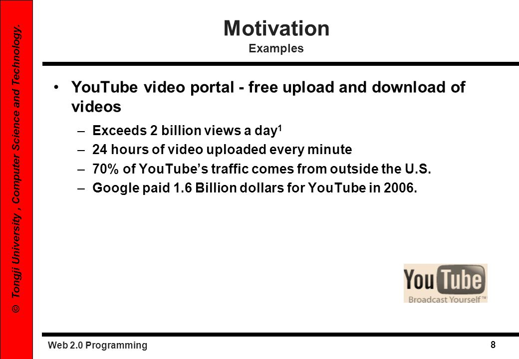 Motivation Examples YouTube video portal - free upload and download of videos. Exceeds 2 billion views a day1.