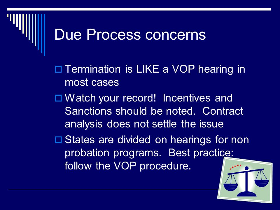 Due Process concerns Termination is LIKE a VOP hearing in most cases