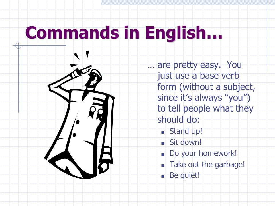 Commands in English…