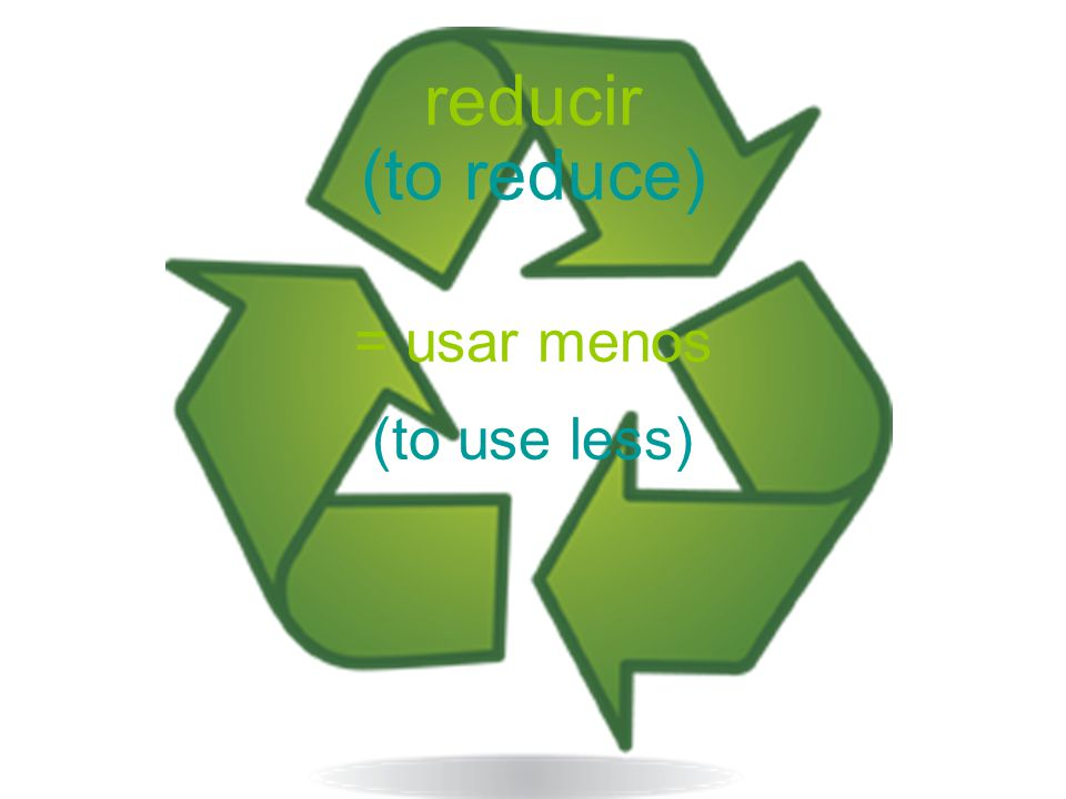 reducir (to reduce) = usar menos (to use less)