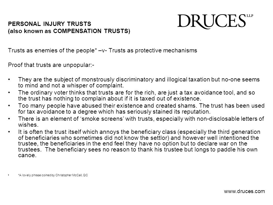 PERSONAL INJURY TRUSTS (also known as COMPENSATION TRUSTS)