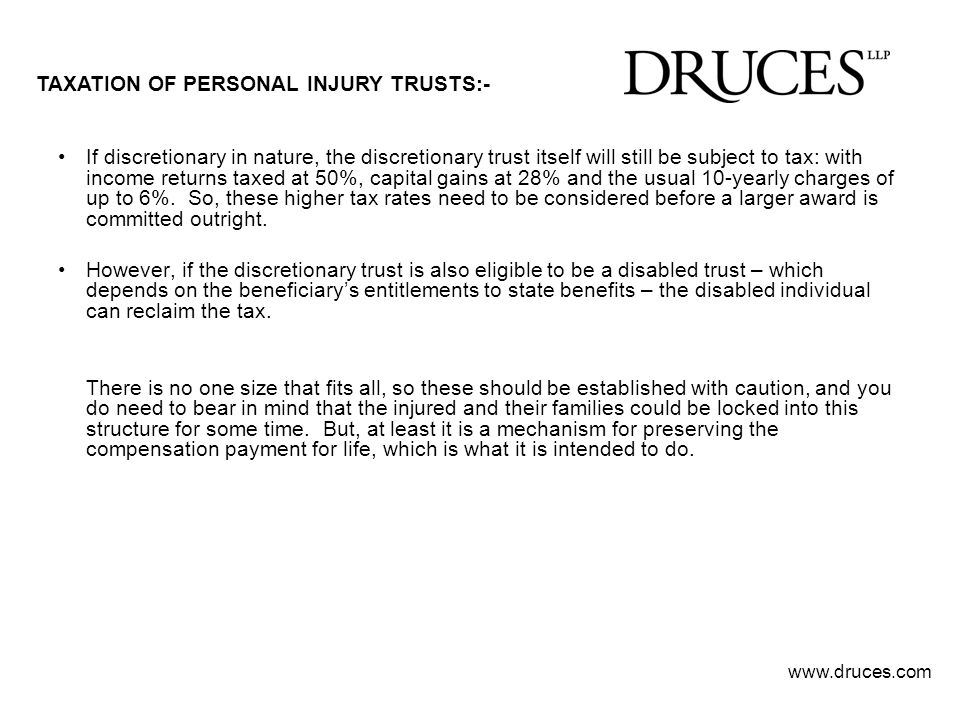 TAXATION OF PERSONAL INJURY TRUSTS:-