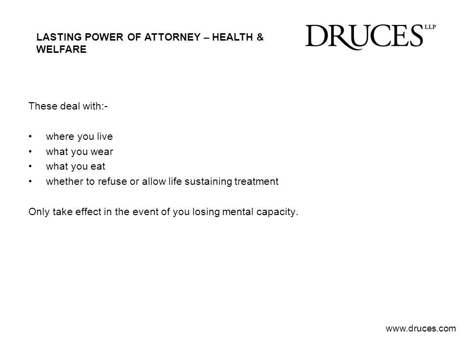 LASTING POWER OF ATTORNEY – HEALTH & WELFARE