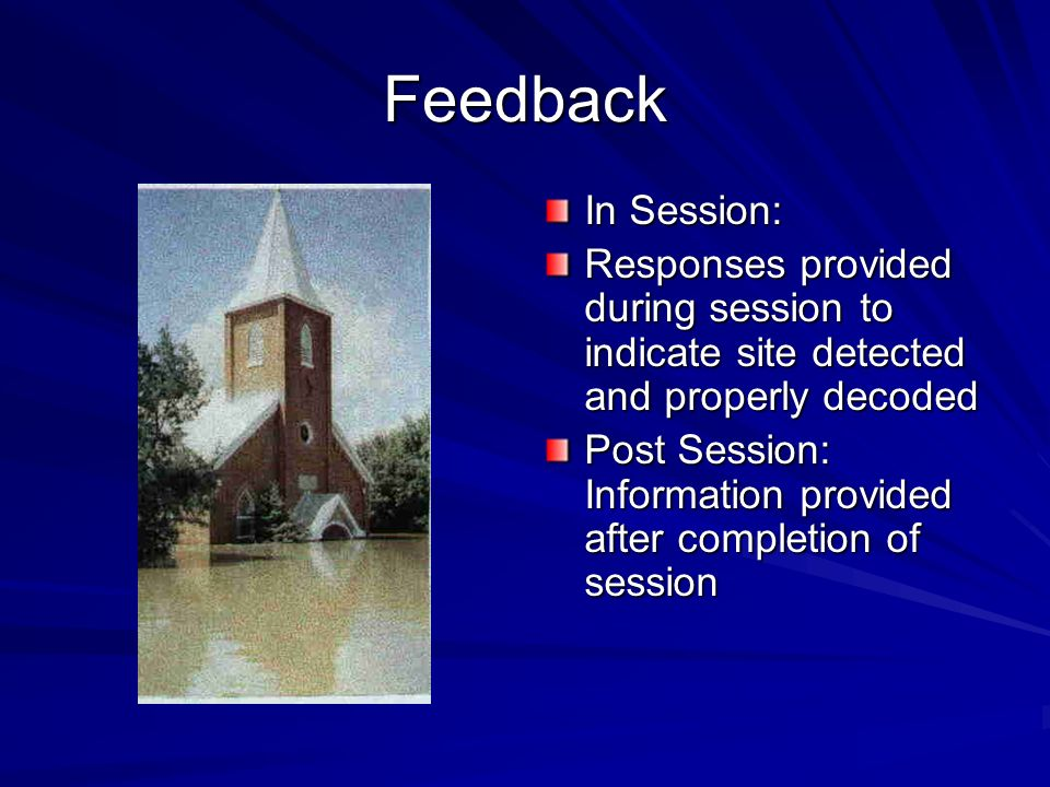 Feedback In Session: Responses provided during session to indicate site detected and properly decoded.