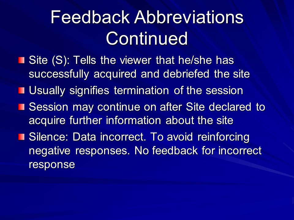 Feedback Abbreviations Continued