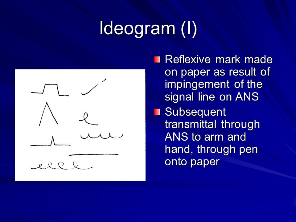 Ideogram (I) Reflexive mark made on paper as result of impingement of the signal line on ANS.