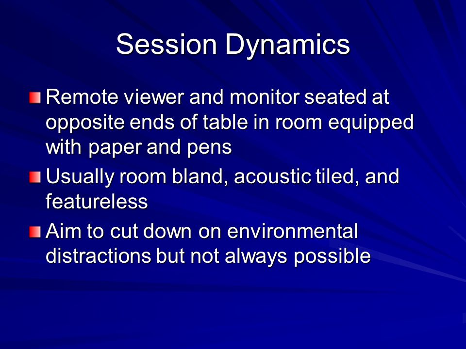 Session Dynamics Remote viewer and monitor seated at opposite ends of table in room equipped with paper and pens.