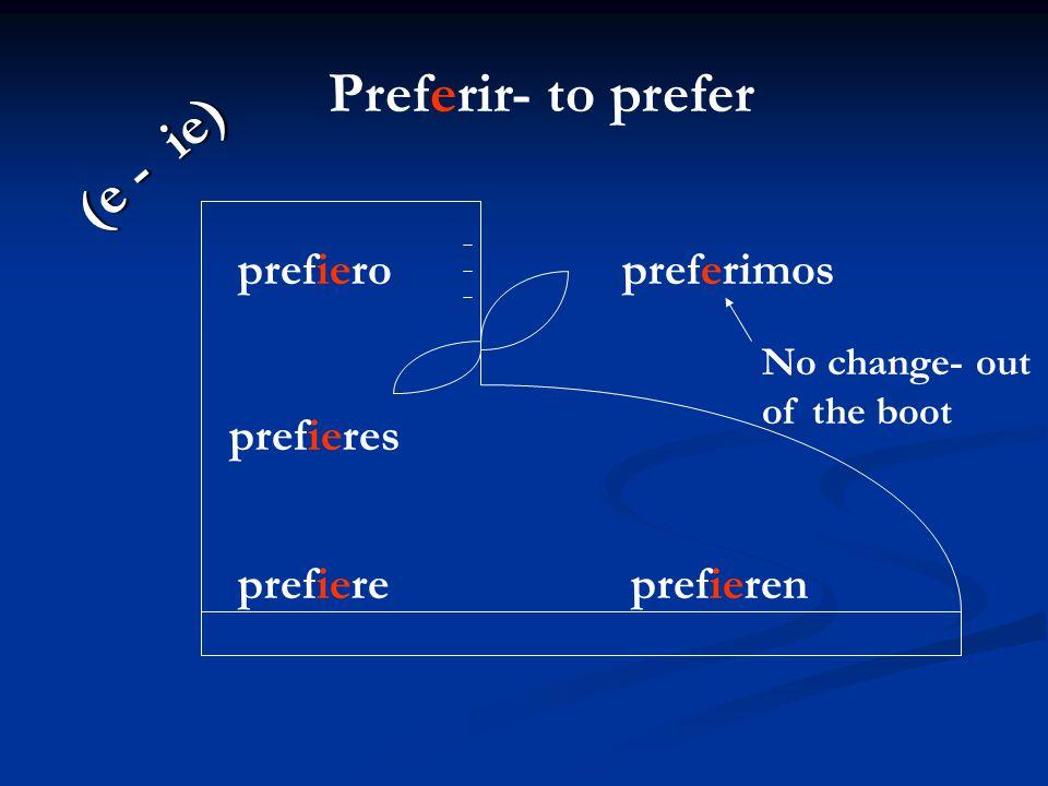 Preferir- to prefer (e - ie) prefiero preferimos prefieres prefiere