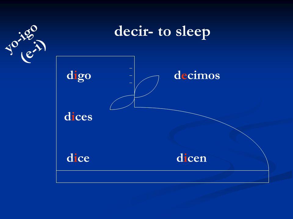 decir- to sleep yo-igo (e-i) digo decimos dices dice dicen