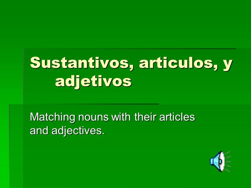 Sustantivos, articulos, y adjetivos