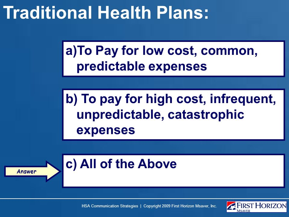 Traditional Health Plans: