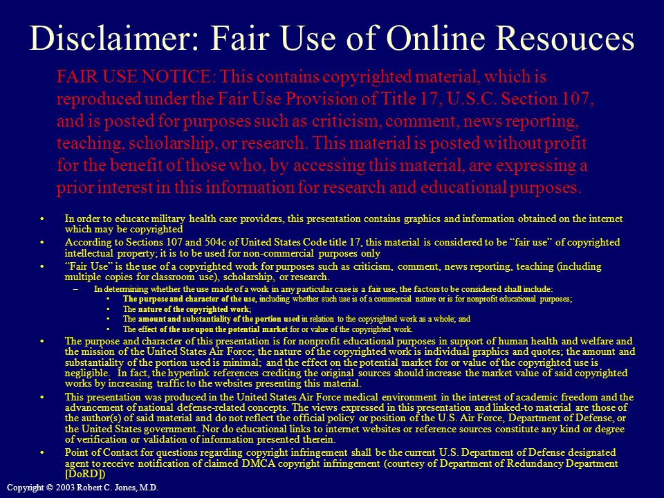 Disclaimer: Fair Use of Online Resouces