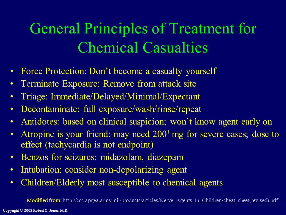 General Principles of Treatment for Chemical Casualties