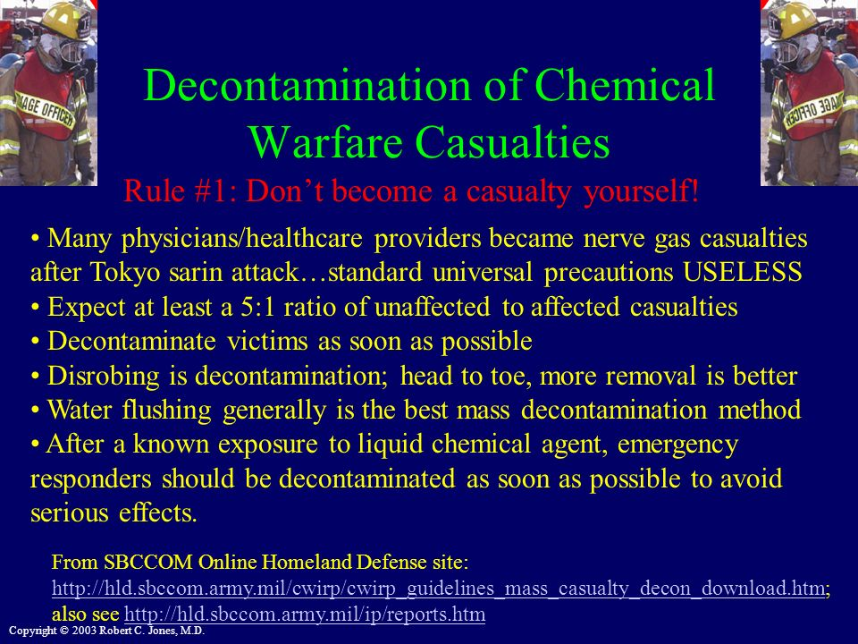 Decontamination of Chemical Warfare Casualties