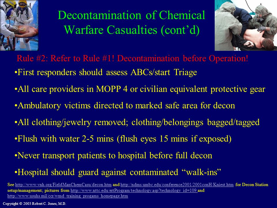 Decontamination of Chemical Warfare Casualties (cont'd)