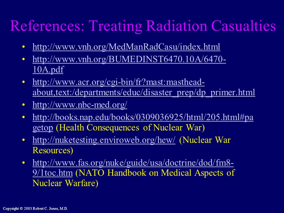 References: Treating Radiation Casualties