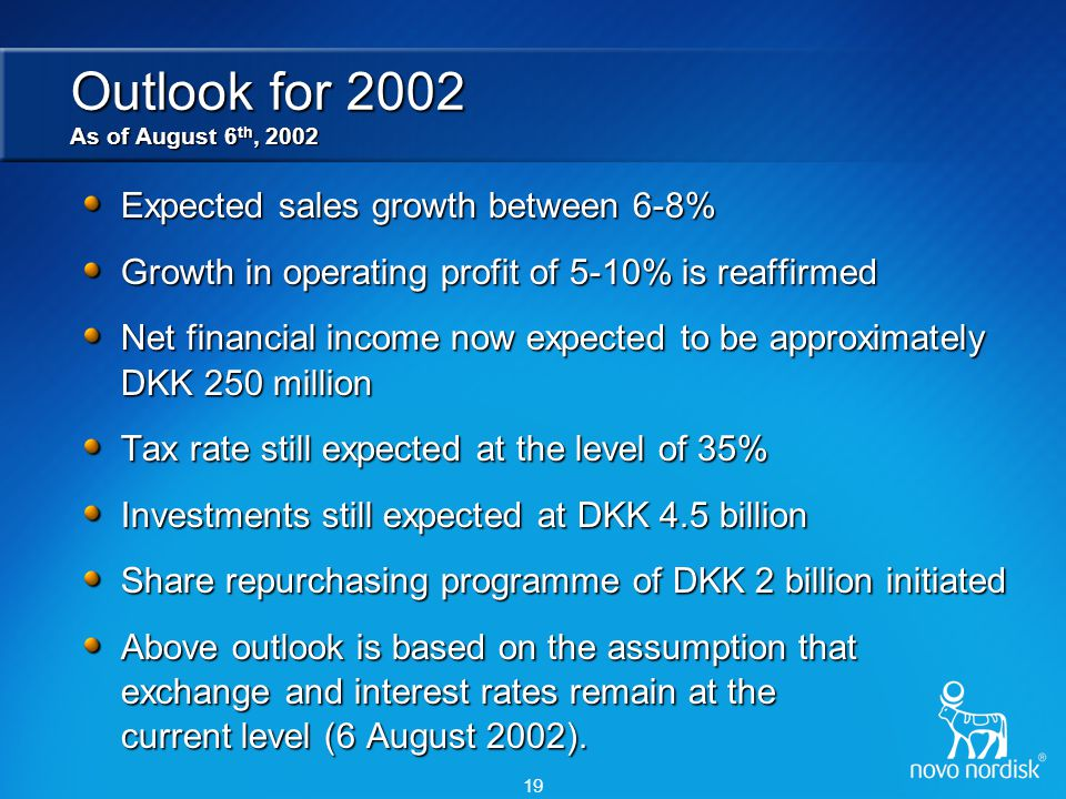 Novo Nordisk A focused healthcare company CIBC World Markets Frontenac Institutional Investor Conference September 2002 Director of Investor Relations Rasmus Jorgensen