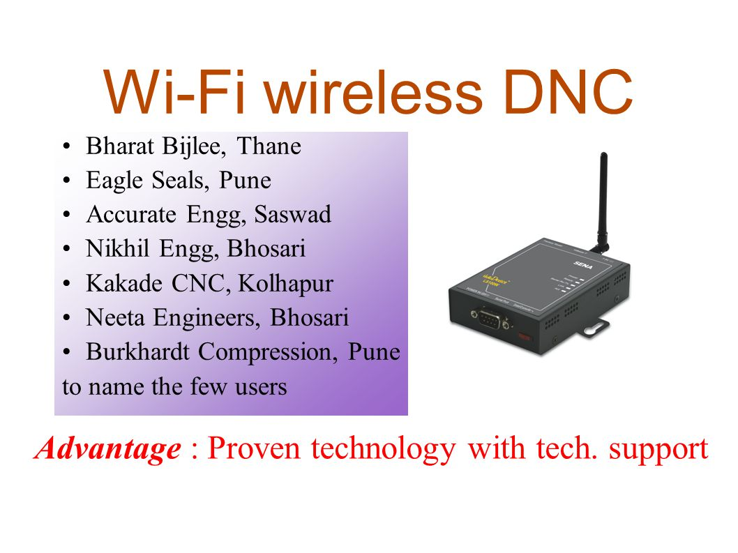 Wi-Fi wireless DNC Bharat Bijlee, Thane Eagle Seals, Pune
