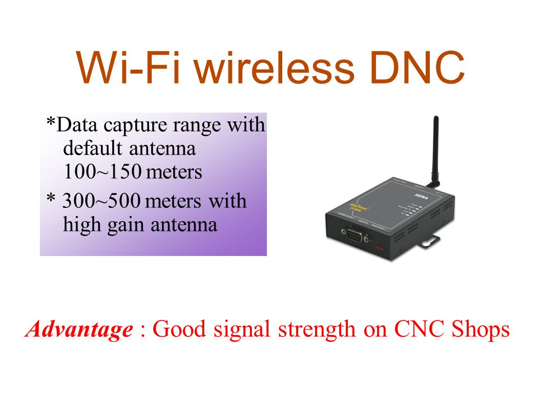 Wi-Fi wireless DNC *Data capture range with default antenna 100~150 meters. * 300~500 meters with high gain antenna.