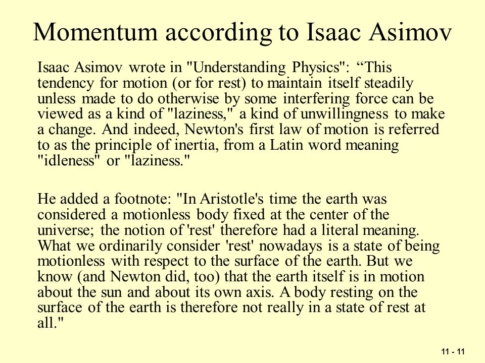 Momentum according to Isaac Asimov