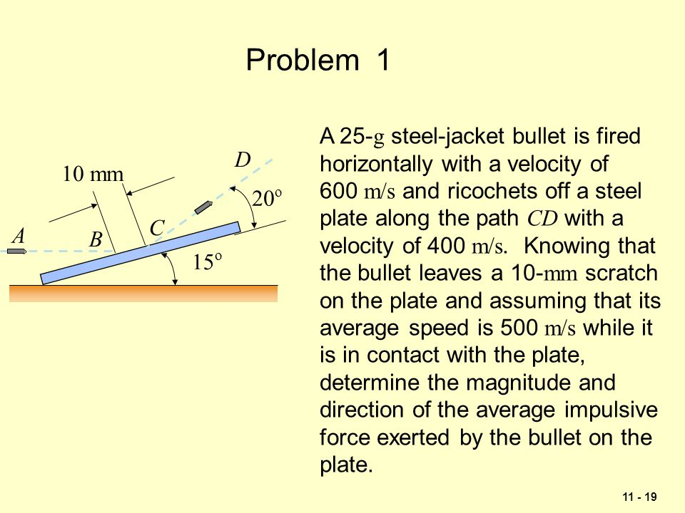 Problem 1 A 25-g steel-jacket bullet is fired