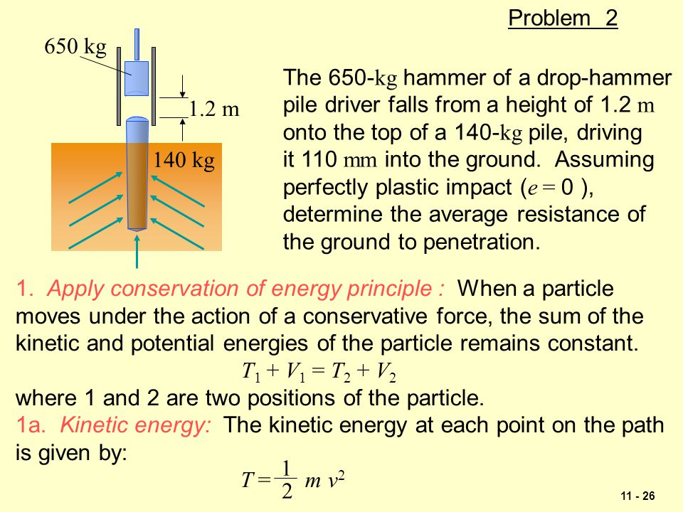 Problem kg. 650 kg. 1.2 m. The 650-kg hammer of a drop-hammer. pile driver falls from a height of 1.2 m.