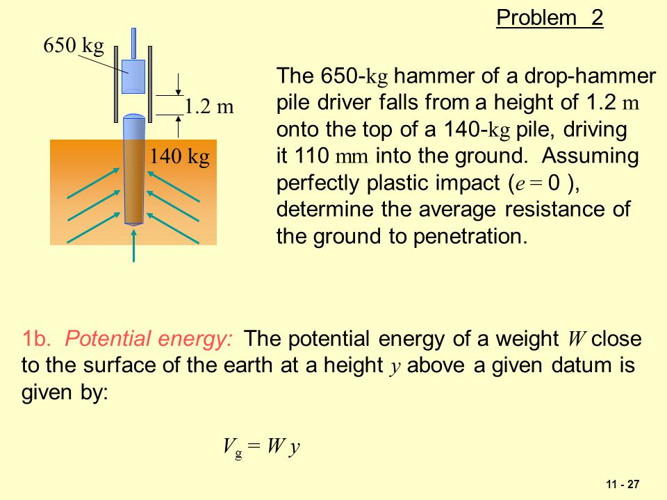 Problem 2 140 kg. 650 kg. 1.2 m. The 650-kg hammer of a drop-hammer. pile driver falls from a height of 1.2 m.