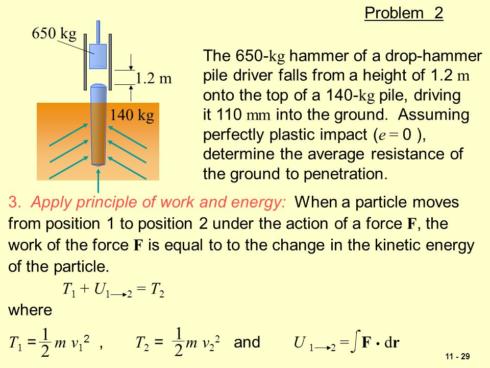 1 1 2 2 Problem 2 650 kg The 650-kg hammer of a drop-hammer