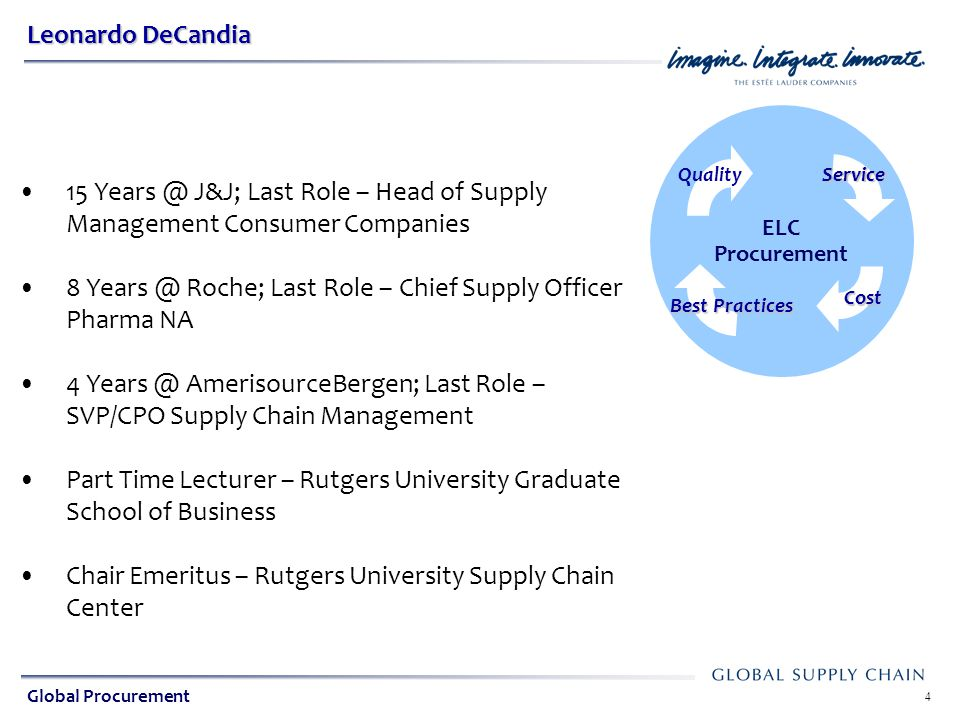 8 Years @ Roche; Last Role – Chief Supply Officer Pharma NA