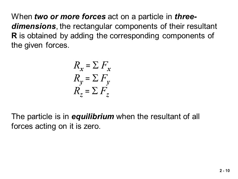When two or more forces act on a particle in three-dimensions, the rectangular components of their resultant R is obtained by adding the corresponding components of the given forces.