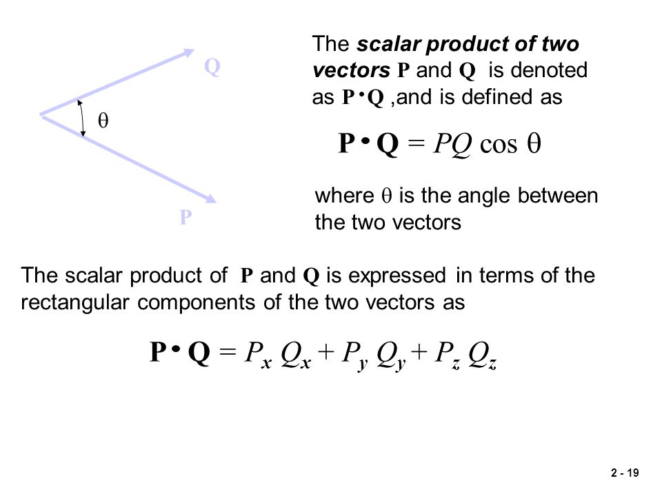 P Q = PQ cos q P Q = Px Qx + Py Qy + Pz Qz The scalar product of two