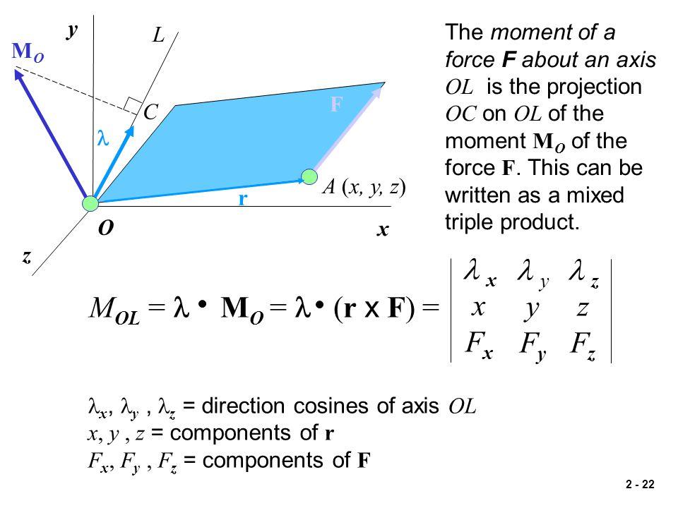 l x x Fx l y y Fy l z z Fz MOL = l MO = l (r x F) = y