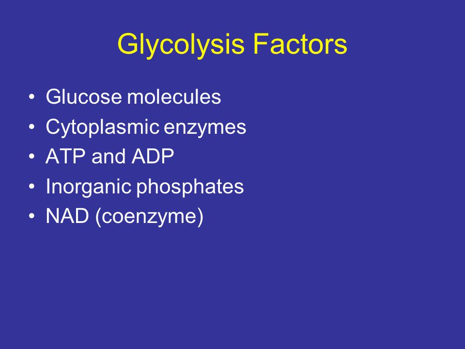 Glycolysis Factors Glucose molecules Cytoplasmic enzymes ATP and ADP