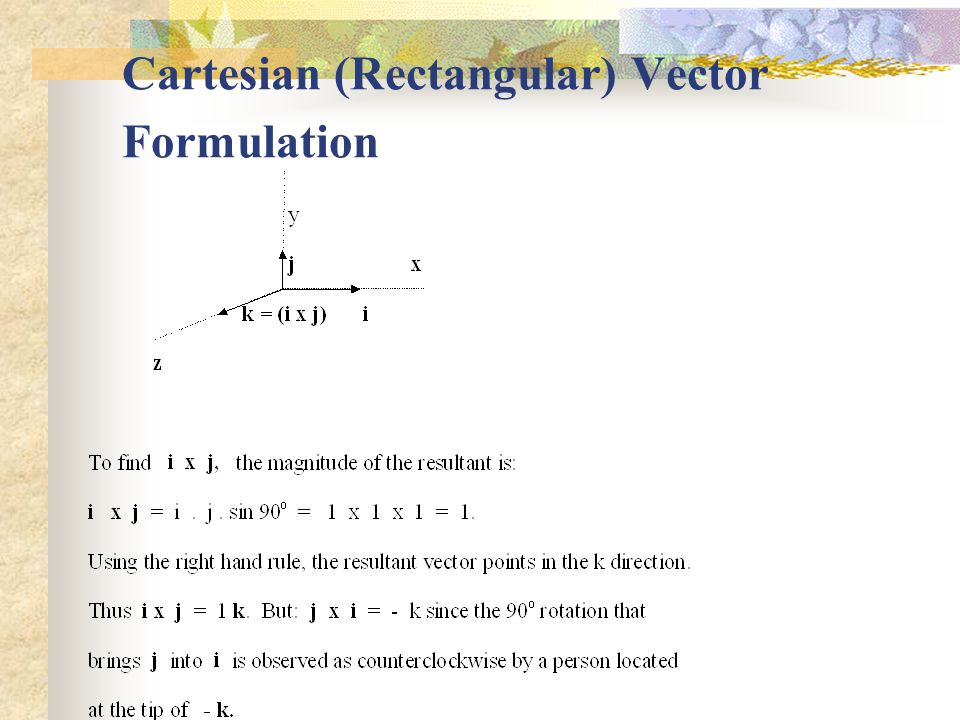 Cartesian (Rectangular) Vector Formulation