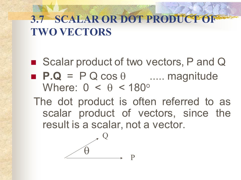 3.7 SCALAR OR DOT PRODUCT OF TWO VECTORS
