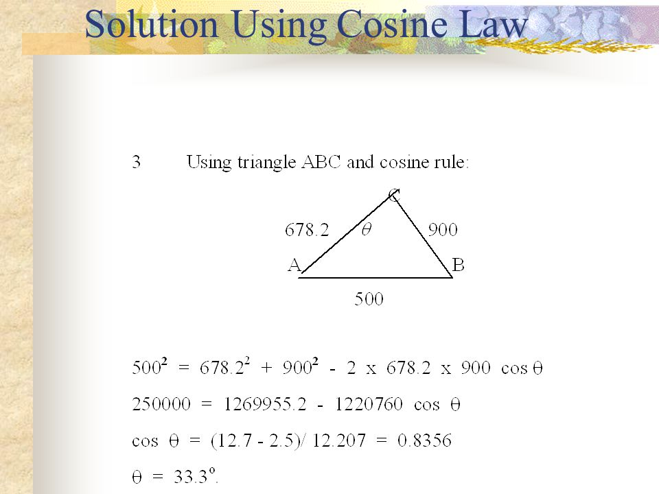 Solution Using Cosine Law