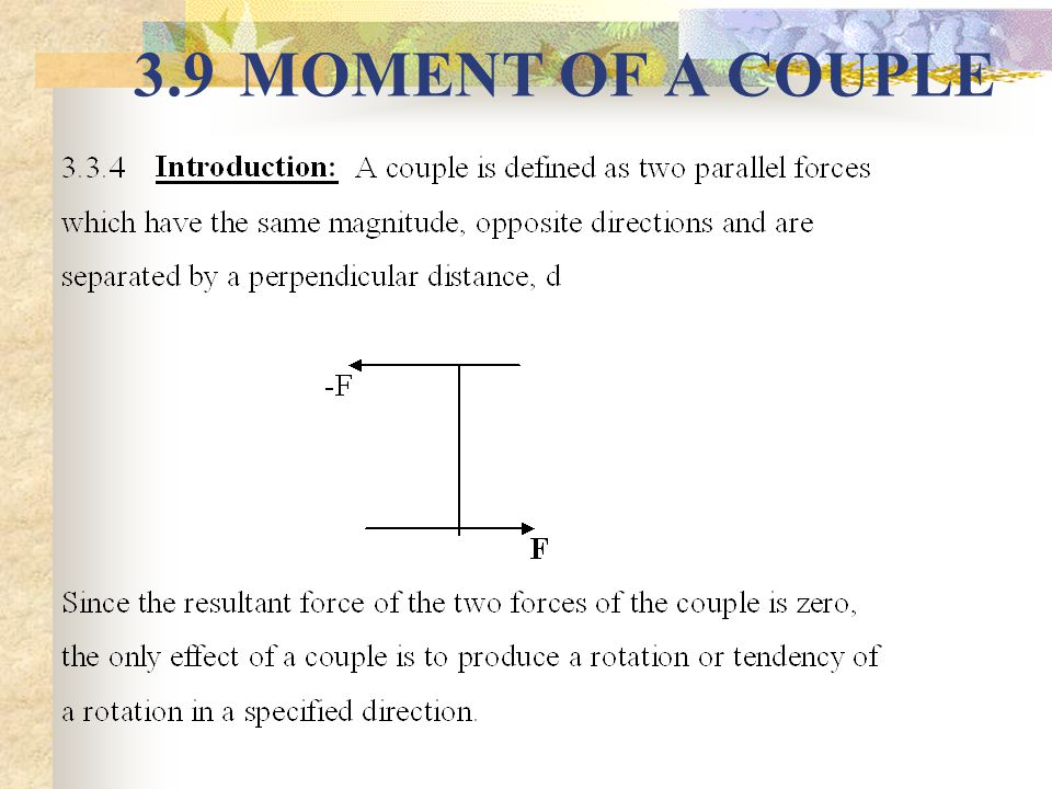 3.9 MOMENT OF A COUPLE