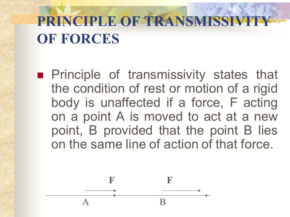 PRINCIPLE OF TRANSMISSIVITY OF FORCES