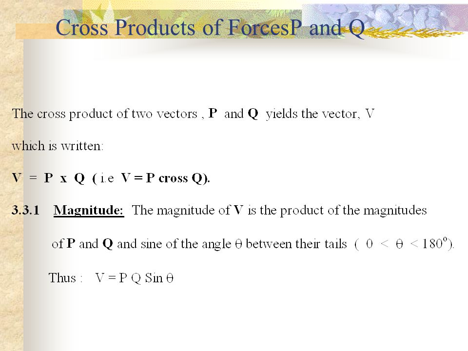 Cross Products of ForcesP and Q