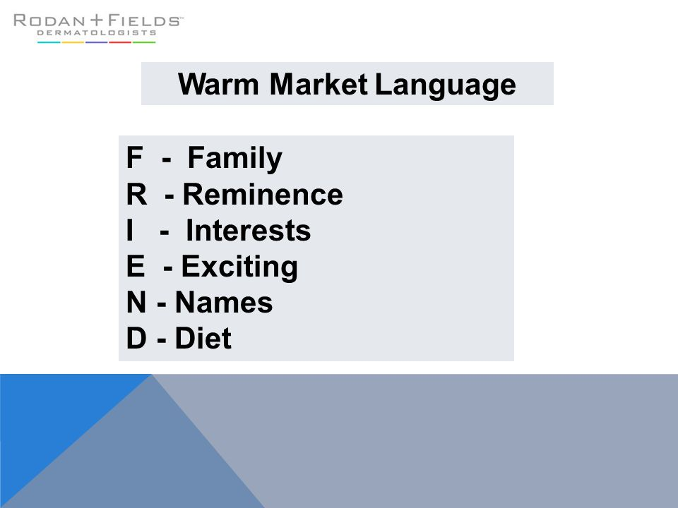 Warm Market Language F - Family R - Reminence I - Interests E - Exciting N - Names D - Diet