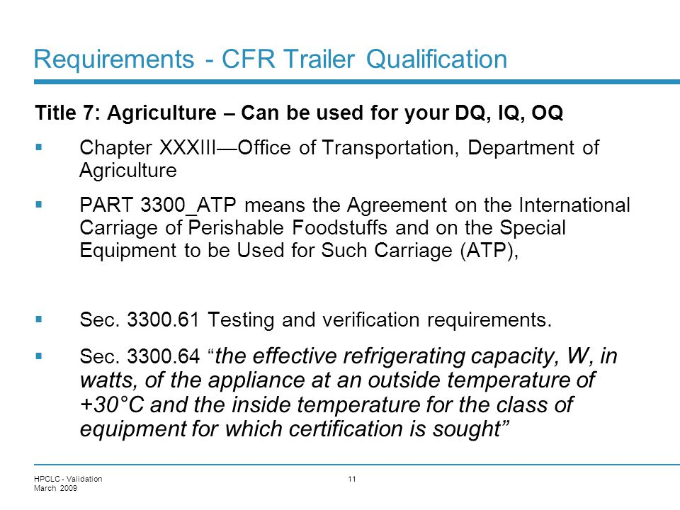 Requirements - CFR Trailer Qualification