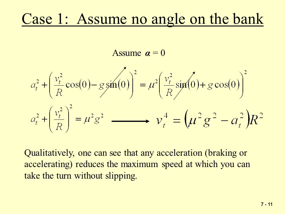 Case 1: Assume no angle on the bank