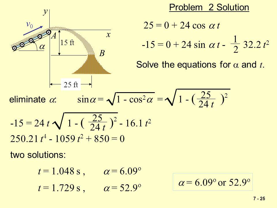 Problem 2 Solution 15 ft. A. 25 ft. a. v0. B. x. y. 25 = 0 + 24 cos a t. -15 = 0 + 24 sin a t - 32.2 t2.