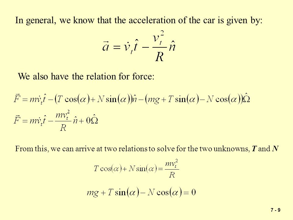 In general, we know that the acceleration of the car is given by: